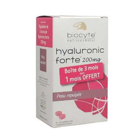 Pack 3 mois Hyaluronic Forte 200mg Biocyte 90 Comprimés
