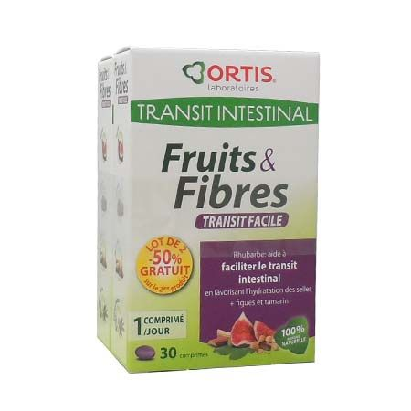 Fruits & Fibres Transit facile Ortis 30 Comprimés Lot de 2