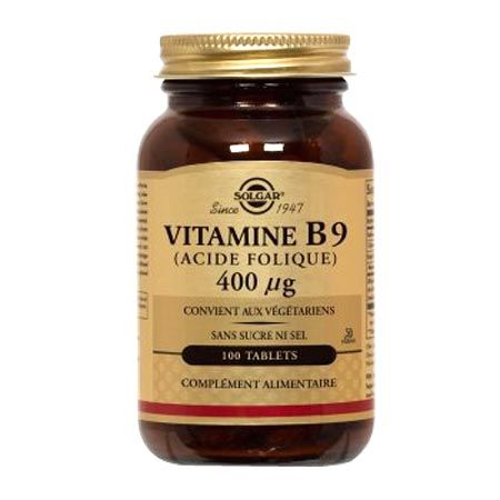 Vitamine B9Solgar Acide Folique 400 μg - 100 Comprimés 34d76554c7c