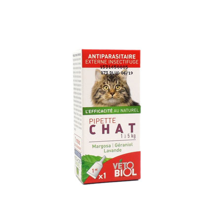Vétobiol pipette antiparasitaire chat x1