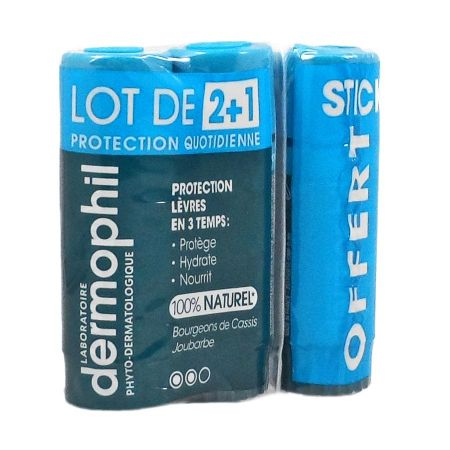 Dermophil stick protection lèvres LOT DE 2 + 1