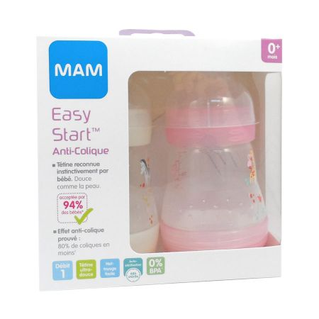 MAM Biberon Easy Start 0-6 Mois Rose + Blanc 160 ml Lot x 2