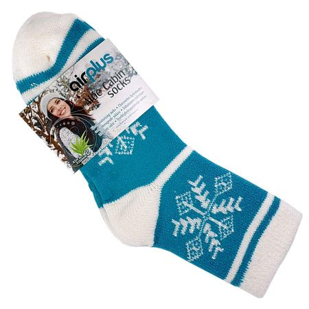 Chaussettes Airplus flocons blancs fond turquoise