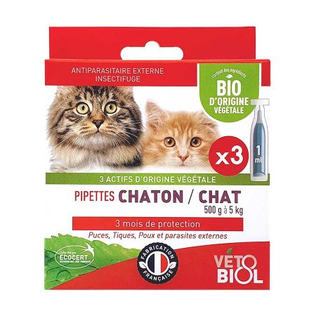 Pipettes antiparasitaires bio chat & chaton 3 x 1 ml Vétobiol