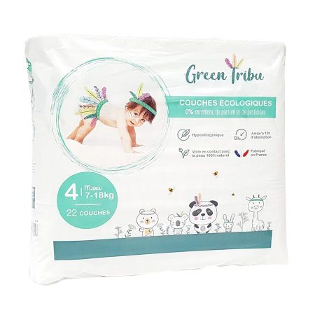Couches Green Tribu taille 4 maxi (7-18kg) x 22
