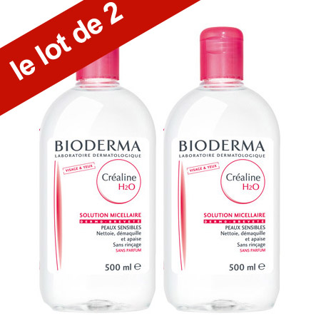 Bioderma Créaline H2O Solution Micellaire 500ml LOT DE 2